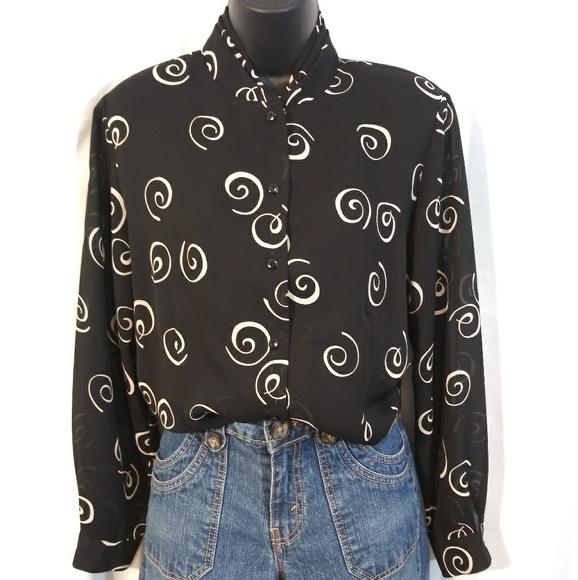 Pendleton Tops - Pendleton petite black button up/ white swirls